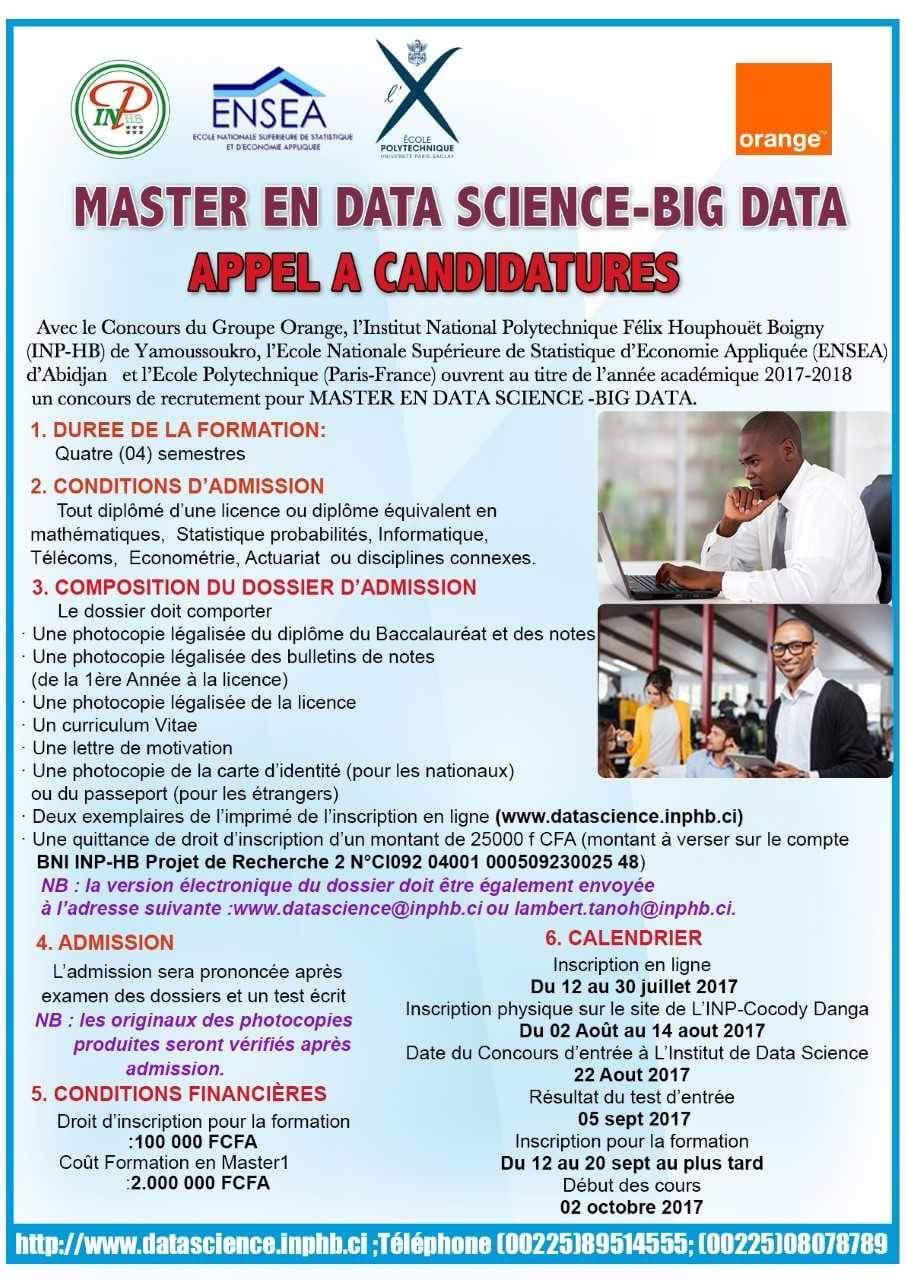 concours pour le recrutement en master data science -big data