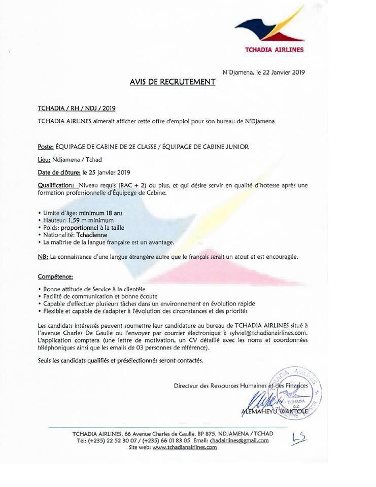 tchadia airlines recrute des h u00f4tesses de l u0026 39 air- n u0026 39 djamena  tchad